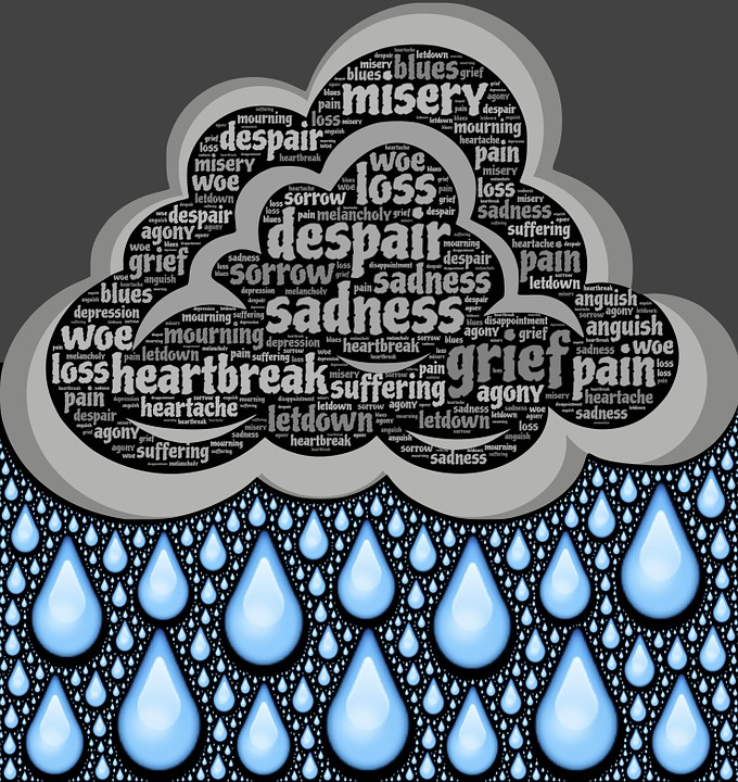 diagram of a cloud filled with words like loss, despair, sadness, grief, pain that is raining down blue droplets of all sizes