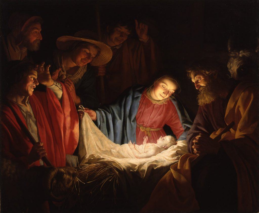 Shepherds adoring baby Jesus with Mary looking on
