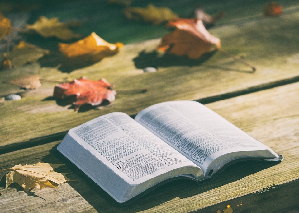 Open bible on a wooden table with fall leaves laying nearby