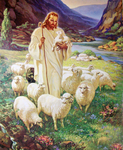 Jesus as shepherd surrounded by sheep, holding a baby sheep