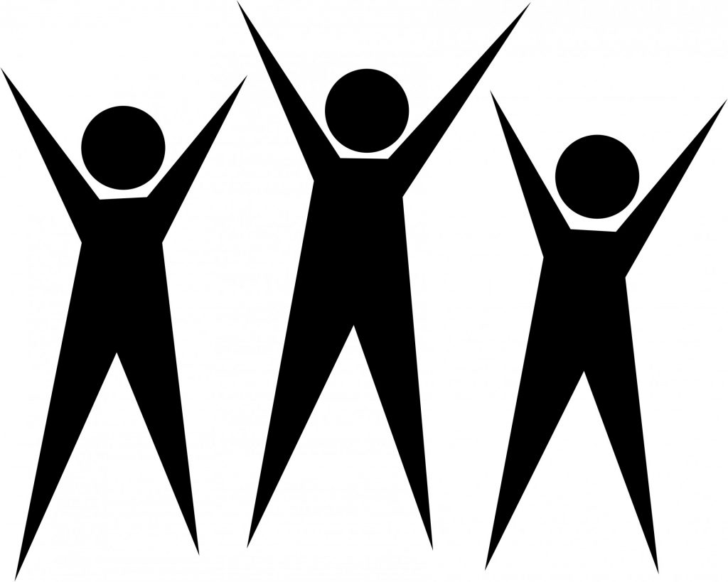 people figures with arms raised high