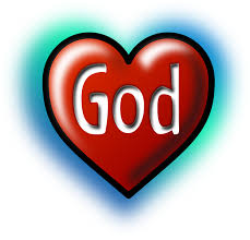 The word GOD inside a red heart shape with a blue hazy background around it