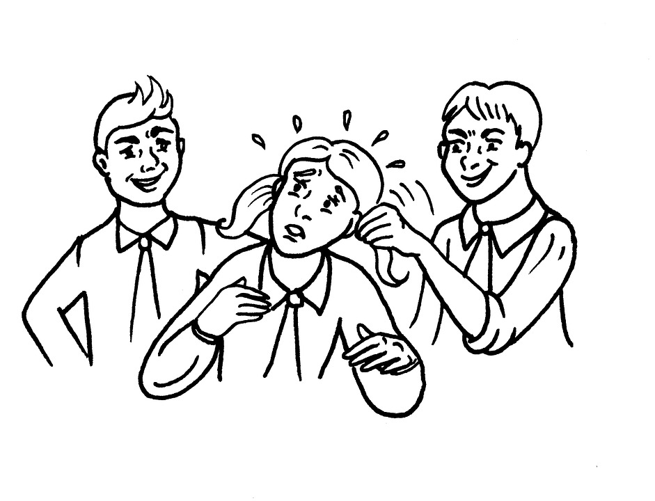 Drawing of 2 boys bullying a girl, one is pulling her pigtails
