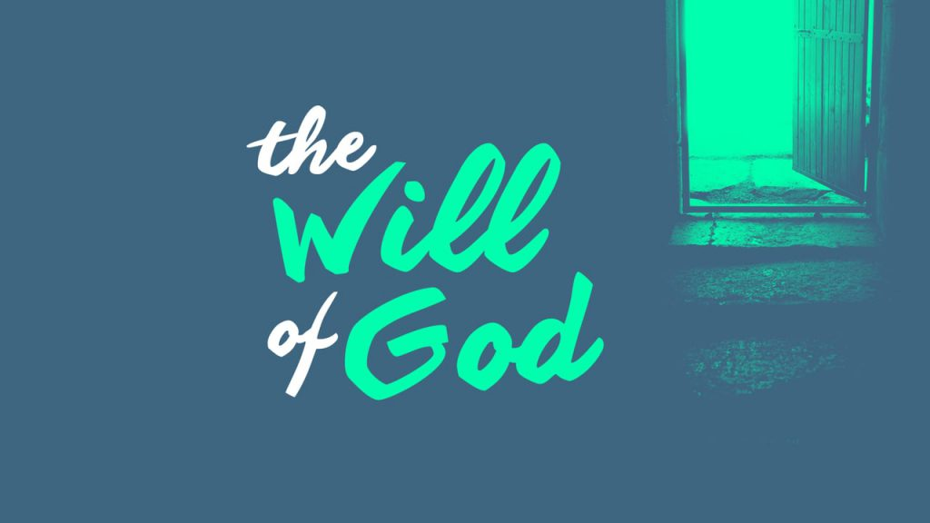 """graphic design with an open door and the words, """"the will of God"""""""