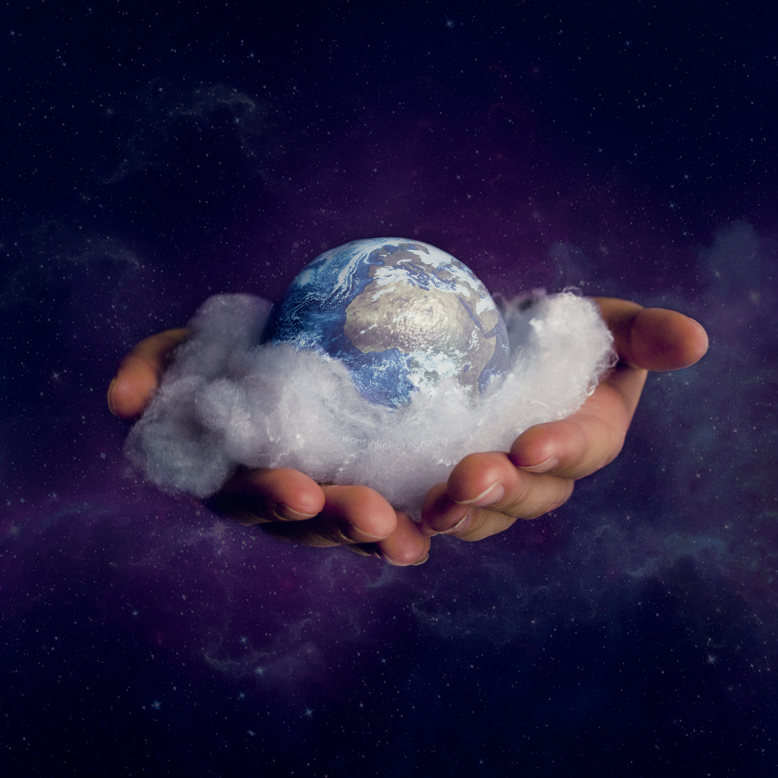 The earth being held in the hands of God