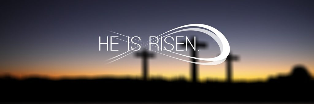 He is risen with the fish symbol overlaying blurred out picture of 3 empty crosses