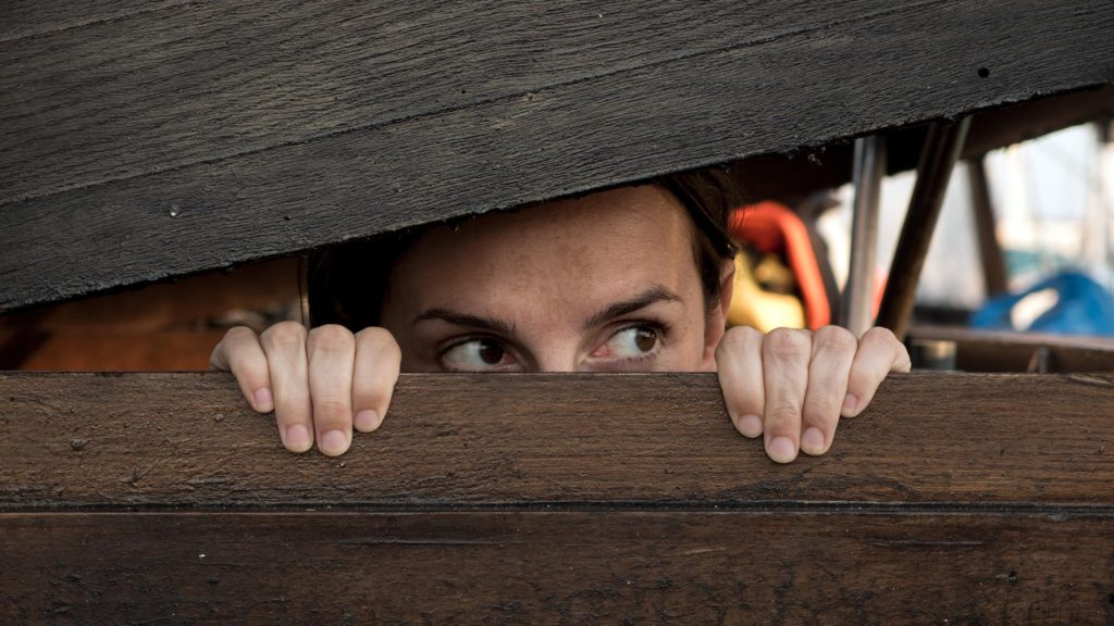someone peering out between a crack in a wooden fence like they are hiding and on the look out