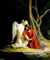 Jesus praying with an angel holding him close