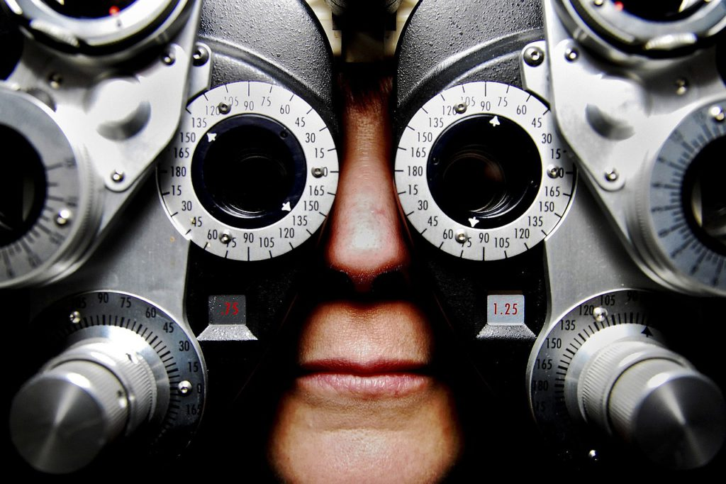 getting an eye test with the vision machine
