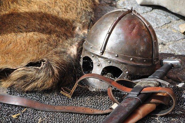 old style war helmet and sword