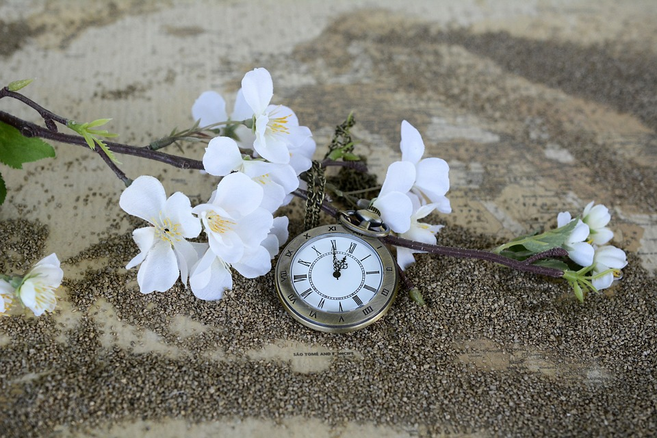 a stop watch with some flowers