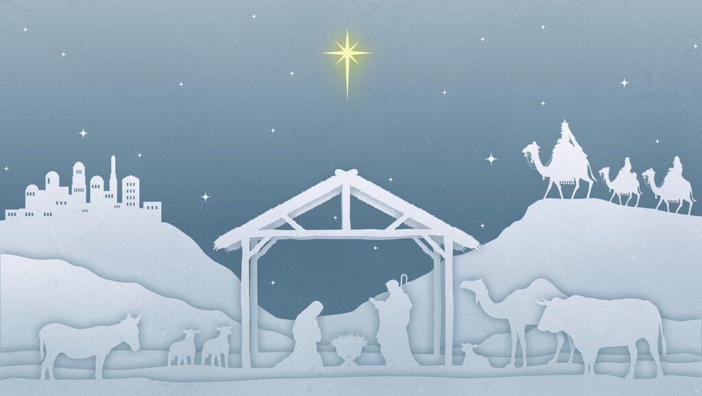 Nativity scene with animals