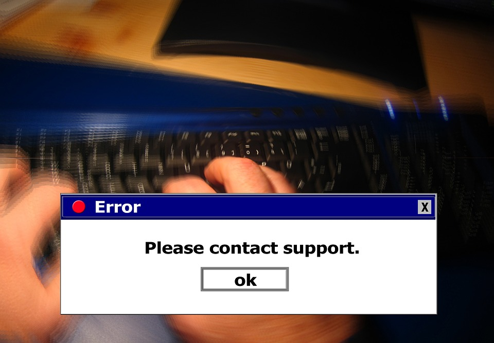 "error screen says, ""please contact support"" with an ""OK"" button"