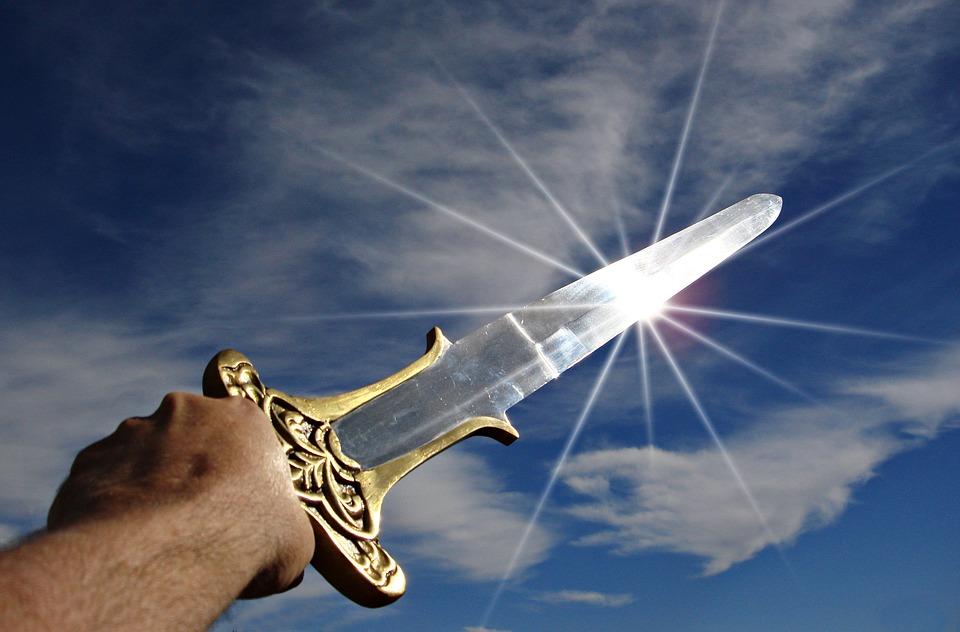 sword shining in the sun