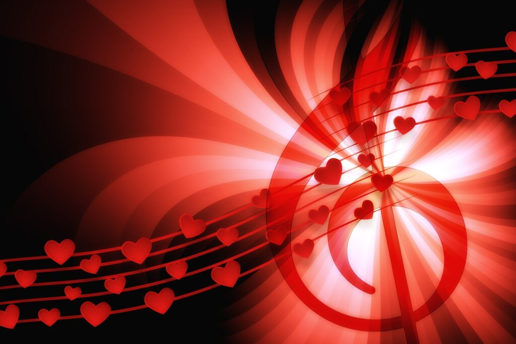 red on black - treble clef with hearts on a staff, all swirling around bright light