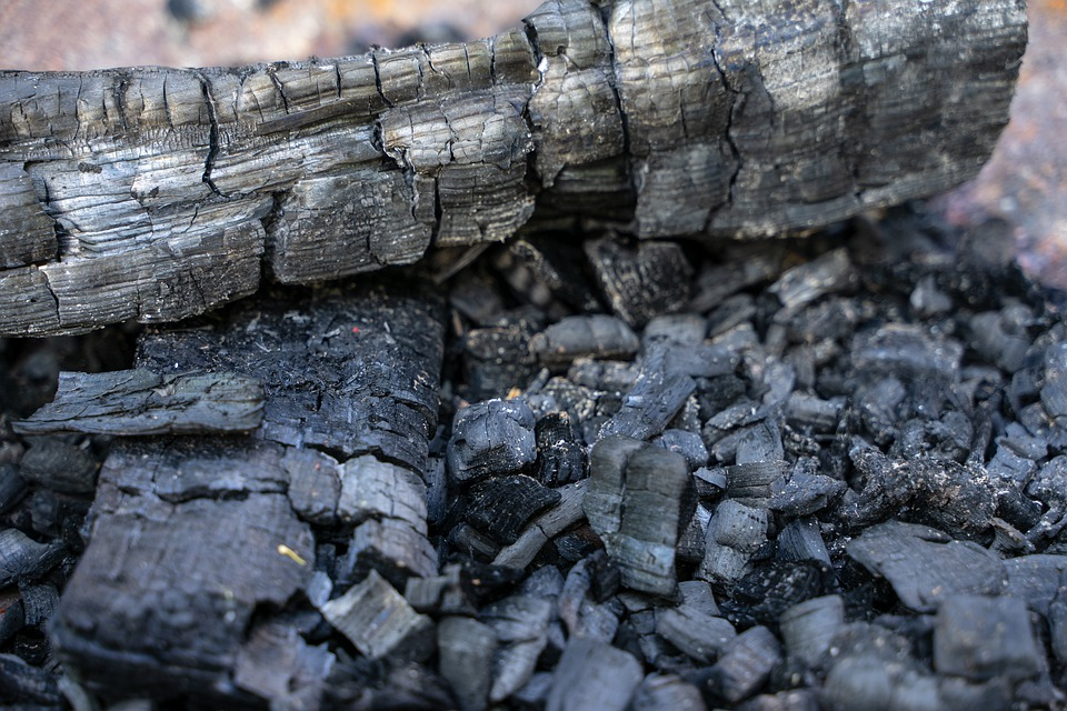 A closeup of a pile of ash and burnt up wood