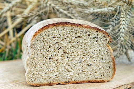 loaf of bread with wheat in the background