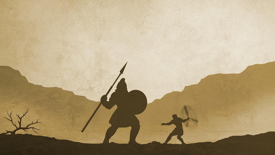 Battle between David and Goliath