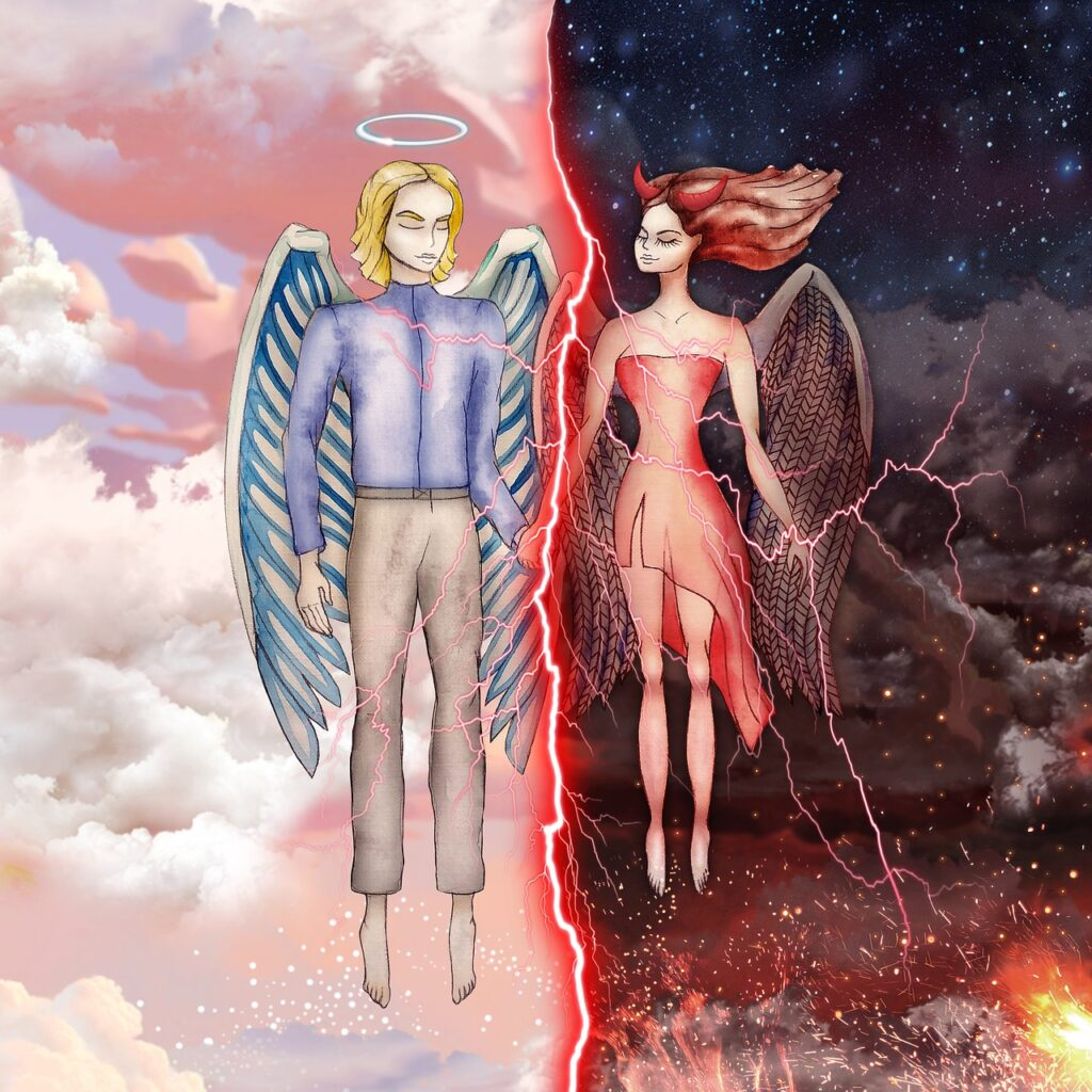 An angel floating in the clouds in half of the picture, and a devil in dark with fire in the other half